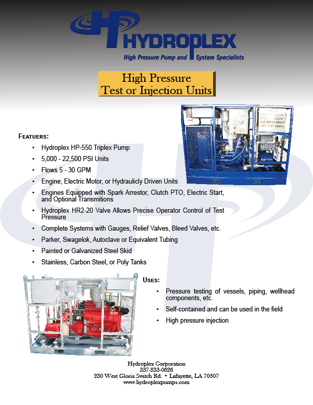 High Pressure Test Or Injection Unit Hptu Hydroplex