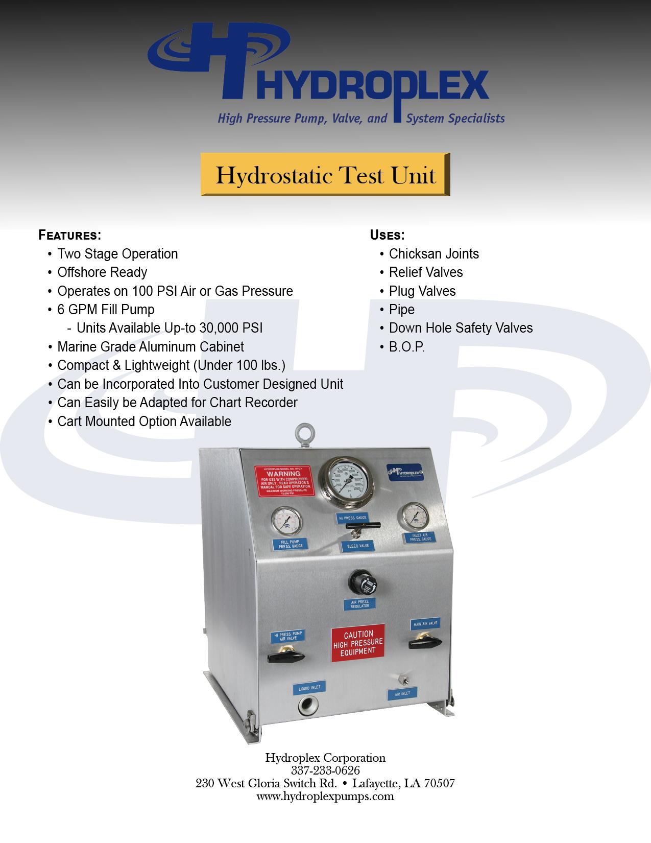 Hydrostatic Pressure Test Unit - HTU - Hydroplex Pumps